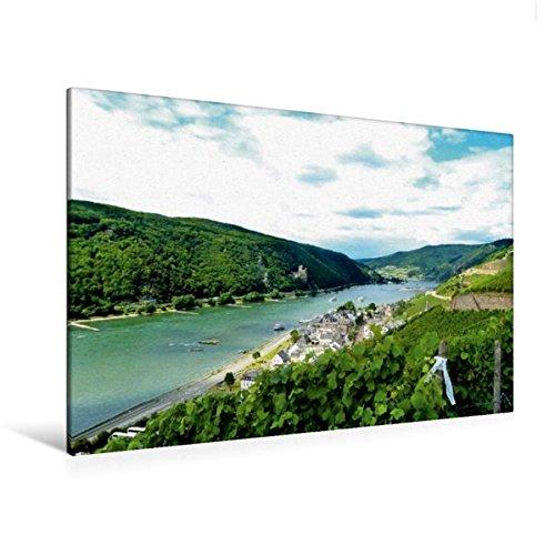 Calvendo Premium Textil-Leinwand 120 cm x 80 cm quer, Burg Rheinstein | Wandbild, Bild auf Keilrahmen, Fertigbild auf echter Leinwand, Leinwanddruck Orte Orte -