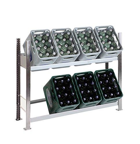SCHULTE Getränkekisten-Grundregal 1000 x 1360 x 336 mm, komplett verzinkt, 3 Ebenen, für bis zu 8 Kästen; MADE IN GERMANY