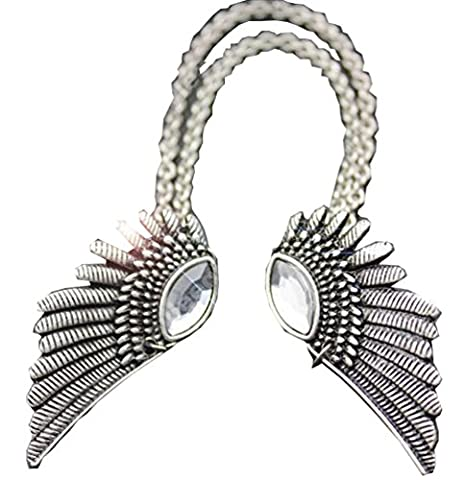 Meta-U Vintage Angel Wings Metallic Shirt Collar Pips Necklace