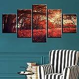 DAIDAIWLH Poster, modular, Malerei auf Leinwand, 5-teilig, Rot, Baum Sonne, Naturbilder, Wohnzimmer, Dekoration, HD-Prints, Wall Art, 10x15 10x20 10x25cm, No Frame