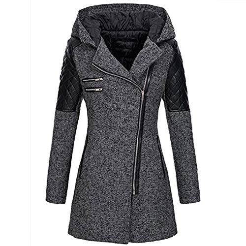 OIKAY Winter Outwear Hooded Zipper Mantel Damen Warm Slim Jacke Dicke Parka Mantel Jacke - Faux-wildleder-kapuzen-jacke