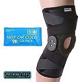 PhysioRoom Elite Knieorthese - Verletzung, Behandlung, Unterstützung, Schmerzlinderung, Knorpelrisse, Bänder, Schutz, atmungsaktives Airmesh-Gewebe, Leichtgewichtiges, verstellbares ROM-Scharnier mit Hot/Cold Ice Pack - Xlarge X-Larg