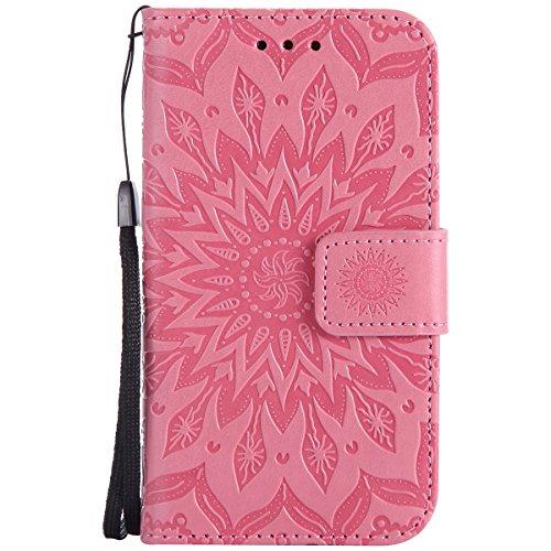 Uposao Handyhülle für Samsung Galaxy Core Prime Leder Tasche Schutzhülle Brieftasche Handytasche Retro Vintage Henna Mandala Blumen Ledertasche Lederhülle Klapphülle Case Flip Cover,Rosa