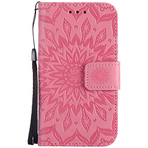 Kompatibel mit Handyhülle Galaxy Core Prime Leder Tasche Schutzhülle Brieftasche Handytasche Retro Vintage Henna Mandala Blumen Ledertasche Lederhülle Klapphülle Case Flip Cover,Rosa