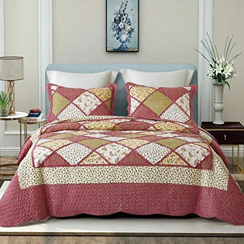 Encoft 3 pezzi biancheria da letto set geometria rosa copriletto matrimoniale da letto trapunta disegno stanpato - 220cm x 240cm
