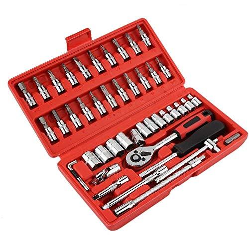 QHLJX 46 pcs DrehmomentschlüSsel Set, Auto Repair Tool Kombination Tool Kit, Tragbar, Robust, Geeignet Zum Anziehen Von Schrauben, FahrräDer, Autos, MotorräDer, Kohlenstoffstahl