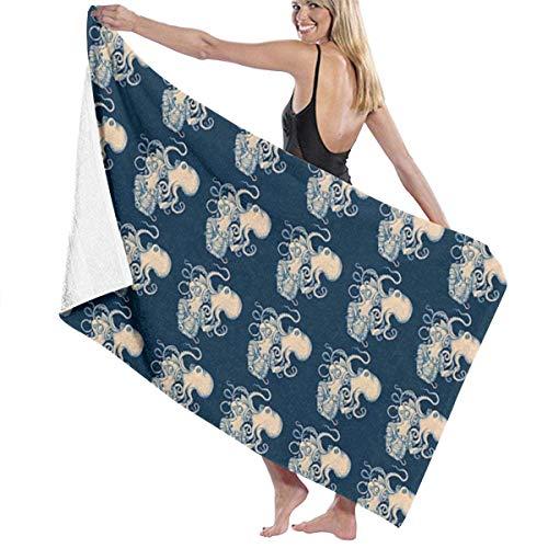 xcvgcxcvasda Serviette de bain, Beach Towels Oversized Octopus Navy Blue Kraken Nautical Beach Towel Large Pool Towel for Adults Kids Girls Beach Towel -