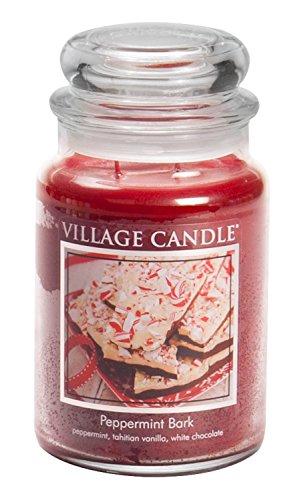 Village Candle Duftkerze im Glas, Duft Pfefferminzrinde, klein, 325 ml groß (769 ml) rot
