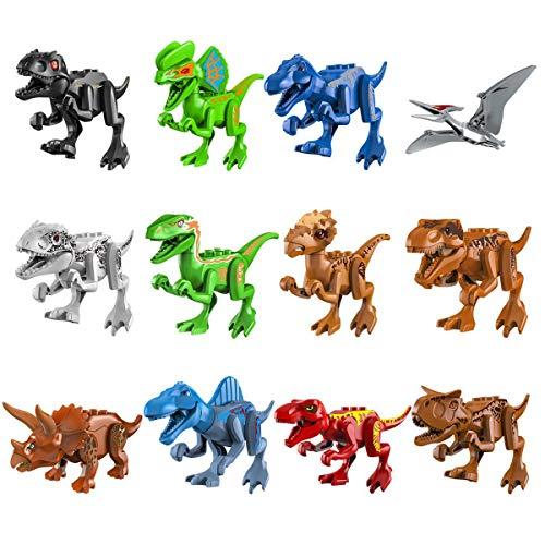Volwco 12 Stücke Dinosaurier Bausteine ??Spielzeug Spielset Für Kleinkinder Mini Dinosaurier Action-Figuren, Pädagogisches Geschenk Für Kinder (Spielset Action-figuren)
