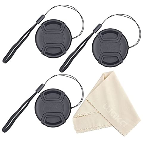 Waka 55mm Lens Cap Bundle, 3 Pcs Center Pinch Lens Cap and Cap Keeper Leash for Canon, Nikon, Sony and other DSLR Camera + Premium Microfiber Lens Cleaning Cloth