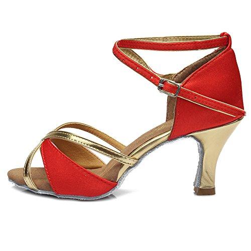 SWDZM Donna Scarpe da Ballo/Scarpe da Ballo Latino Standard Raso Ballroom Model-IT805 7CM rosso