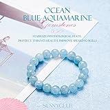 SUNNYCLUE Echte Edelsteine Ocean Blau Aquamarin Armband Stretch Perlen rund 8 mm über 7