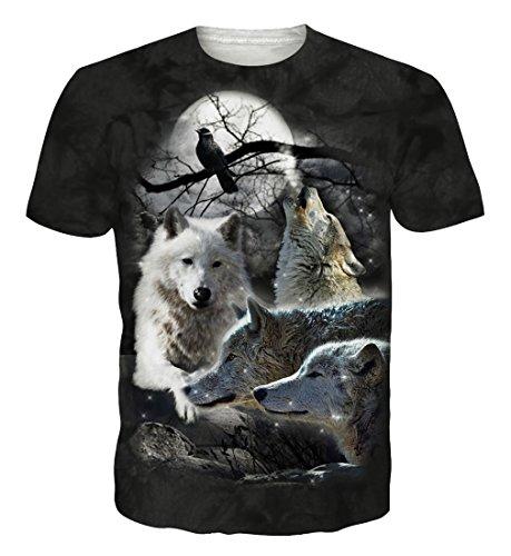 Goodstoworld T Shirt 3D Druck Herren Damen Teen Wolf Print Sommer Lustige Beiläufige Kurzarm Partner T-Shirts T-Stücke S