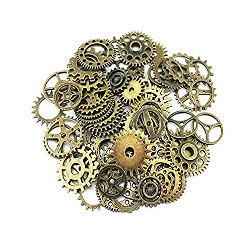Betoper Assorted Antique Steampunk Gears charms Pendant Clock Watch Wheel Gear for crafting, Jewelry making Accessory 100gram (circa 70PCS), Lega, Bronze, 10mm-26mm