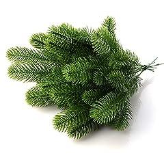 Idea Regalo - Moonvvin, rami di pino artificiali, colore verde, ideali per realizzare ghirlande fai da te e decorazioni natalizie per la casa e il giardino, confezione da 50 pezzi, PVC, Confezione da 30., 24x8cm