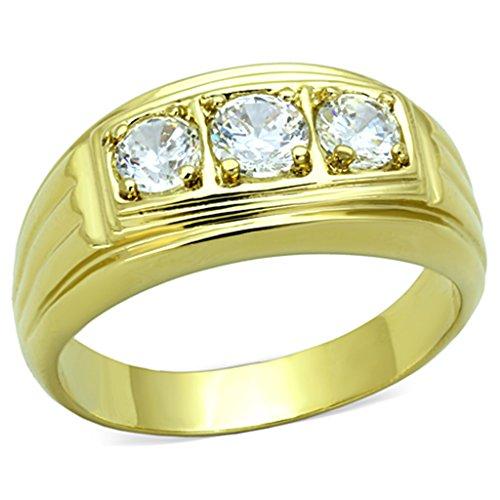 ISADY - Landon - Herren-Ring - 585er 14K Gold platiert - Zirkonium Transparent - T 72 (22.9) (14k Ringe Schmuck Gold)