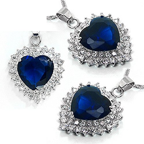 Schöner großer Herzförmiger Kettenanhänger Herz, im Stil von Kate Middletons Verlobungsring Farbe: Saphir