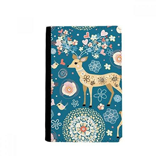 beatChong Ciervos Decoración Floral Animal Azul Bolso Tarjeta Caso De La Cubierta Cartera De Viaje De Pasaporte