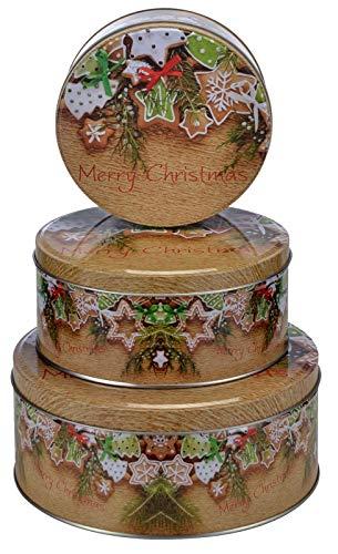 heimtexland ® Keksdosen Set 3-teilig Weihnachten Plätzchendose Gebäckdose Rund Weihnachtsplätzchen Typ658