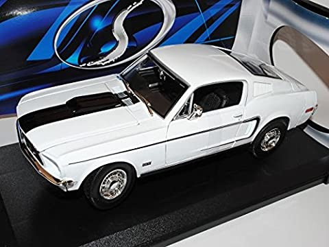 Ford Mustang GT Coupe Weiss Cobra Jet 1968 I 2.Generation 1/18 Maisto Modell Auto mit individiuellem