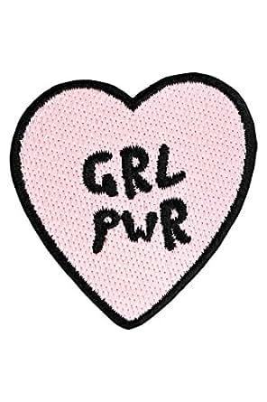 """likalla Herz Aufnäher / Aufbügler """"GRL PWR"""", rosa und schwarz gestickt. Freches Girl Power (iron-on) Patch zum Aufbügeln."""