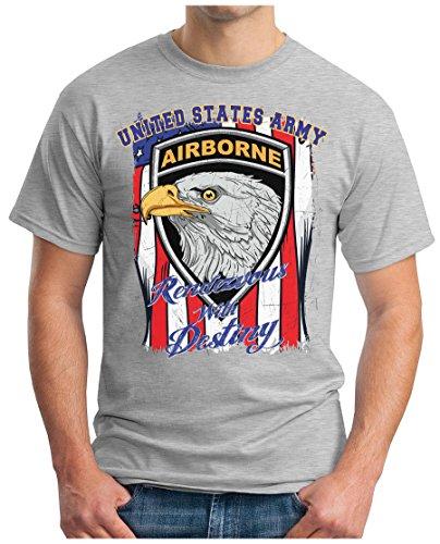 OM3 - USA-AIRBORNE - T-Shirt UNITED STATES ARMY Rendevous with Destiny EAGLE Stars & Stripes GEEK, S - 5XL Grau Meliert