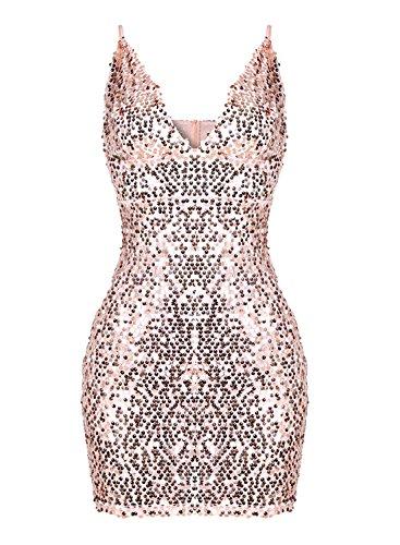 ACHICGIRL Women's Spaghetti Strap V Neck Bodycon Sequins Night Club Dress Golden