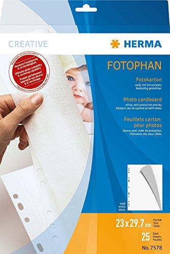 Herma 7578 Fotophan Fotokarton weiß (230 x 297 mm) 25 Blatt, mit Schutzblatt u. Eurolochung, beidseitig gestaltbar, für alle Herma Ringalben und Foto-Ordner