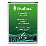 GadFull Batteria compatibile con Samsung Galaxy S4 mini | 2019 Data di produzione | Corrisponde al B500BE originale | Compatibile con Galaxy S4 mini i9190 |Dual SIM i9192|S4 mini LTE i9195