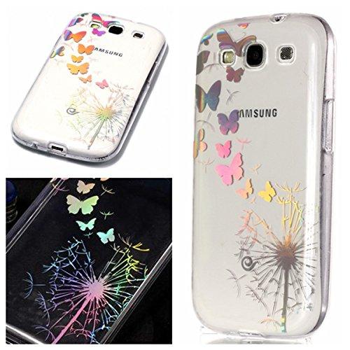 KANTAS Samsung Galaxy S3 Transparent Hülle, Weiche TPU Silikon Back Cover Durchsichtig Gummi Ultra Dünn Etui Handyhülle Laser Entwurf Schutzhülle für Samsung Galaxy S3, Löwenzahn Schmetterling