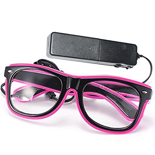 GCBTECH EL Wire Leuchtbrille Leuchten Cool Brille LED Drahtbrille Leucht Sonnenbrille Leuchtband Partybrille mit Batterie Box für Kinder Party Club Stage Disco (Pink)