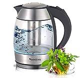 2200 Watt bollitore d'acqua in vetro con colino da tè / tè filtro in acciaio inox 1.8 litro LED BPA libero immagine