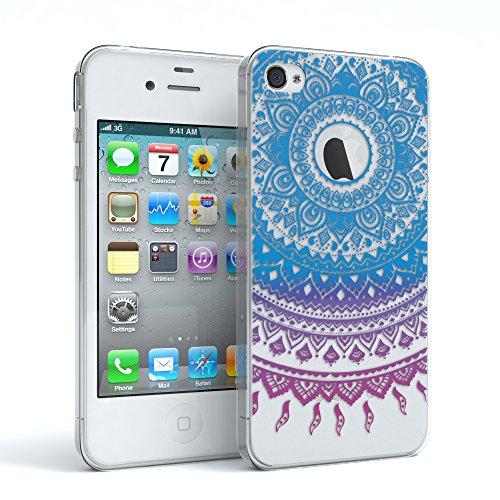 """Apple iPhone 4S / 4 Hülle, EAZY CASE Cover """"Henna"""" - Premium Handyhülle mit Indischer Sonne - Transparente Schutzhülle in Weiß / Transparent Blau / Pink"""