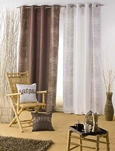 Douceur d interieur - Rideau a oeillets suedine desert naturel - Taille 140 x 260 cm