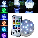 Bodhi2000 Submersible LED Lights with Remote Control, RGB Multi Color Changing Waterproof Light for Vase Base, Floral, Aquarium, Pond, Wedding, Halloween, Party, Christmas, Submersible Lights