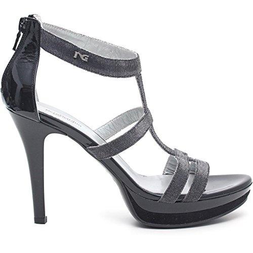 BLACK GARDENS Frau Sandalen mit Fersen P512991DE / 100 Schwarz - Noir - Notturno Nero