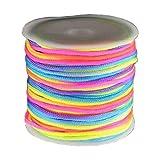 18m Fil polyester Ø 1,7mm - fluo multicolore - cordon queue de rat pour macramé et Shamballa