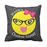 TYYC New Year Gifts for Sister, Worlds Coolest Sister Printed Single Cushion Cover- 12x12 inches