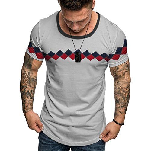 HHyyq Männer kausalen Rundhalsausschnitt Druck Farbe Schicht Raglan Ärmel T-Shirt Custom Tees Frauen Verlieren Kurzarm-T-Shirt (grau, M) -