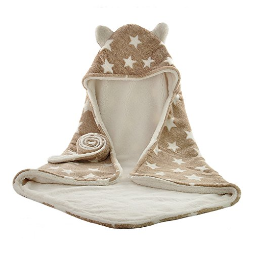 Liying Baby Einschlagdecke Babydecke zum Einwickeln Kapuzenhandtücher Wickeldecke weich Warm Wattiert Wickelsack Kinderwagendecke braun mit sternen 75x 75cm