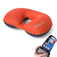 Naturehike U-shape Inflatable Pillow Compact Portable Neck Pillow for Travelling, Office, Roadtrip (orange with button)