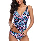 Honestyi Damen Triangel Bandeau Push up Bikini-Set Gepolstert Frauen Sexy Bikinis Set Tankini Set Striped Leopard Brazilian Swimwear Zweiteiler