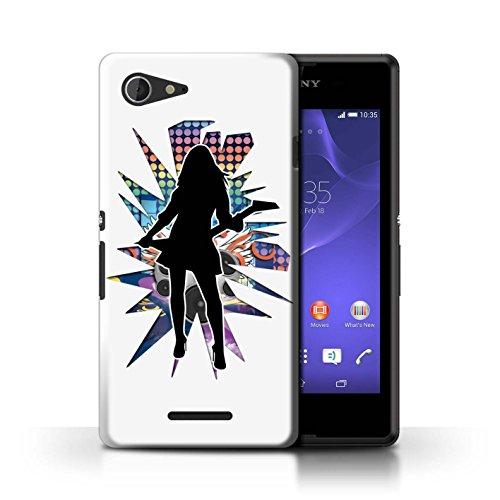 Kobalt® Imprimé Etui / Coque pour Sony Xperia E3 / Hendrix Blanc conception / Série Rock Star Pose Rock Dame Blanc