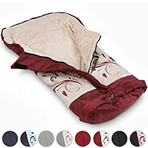 Infantastic Baby Sleeping Bag Winter Footmuff Warmer for Stroller Car Seat (Red with pattern)