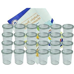 MamboCat 24er Set Weck Gläser 160 ml Sturzgläser mit 24 Glasdeckeln incl. Diamant-Zucker Gelierzauber Rezeptheft