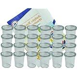 24er Set Weck Gläser 160 ml Sturzgläser mit 24 Glasdeckeln incl. Diamant-Zucker Gelierzauber Rezeptheft