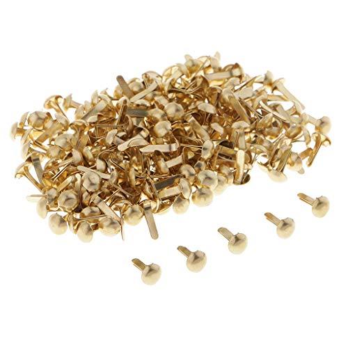 Baoblaze 200 Stücke Metall Rundkopf Musterbeutelklammern Bastelklammern Mini Brads Scrapbooking - Gold, 4,5 mm - Gold Scrapbooking Brads