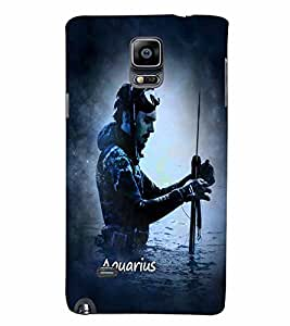 PrintVisa Zodiac Aquarius Aquarian 3D Hard Polycarbonate Designer Back Case Cover for Samsung Galaxy Note 4