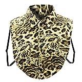 Yvelands Retro Frauen gefälschter Leopard-Druck gefälschte falsche Reverskragenbluse Pan Kragen(Gelb,Free)