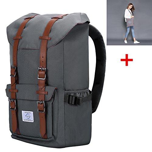 Preisvergleich Produktbild 15 Zoll Laptop Rucksack Retro Wasserabweisend Nylon Daypack Backpack Schulrucksack Laptoprucksack Rucksack Damen Herren Lässiger Daypacks für Outdoor Reisen Wandern mit Großer Kapazitä Nylon Grau 2PCS